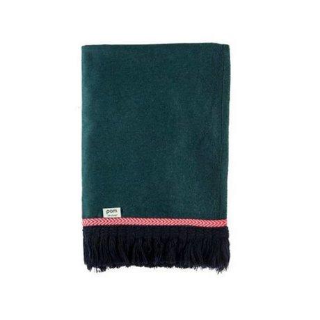 POM Amsterdam Plaid weiche Wurf Uni grüne Wolle 150x120cm