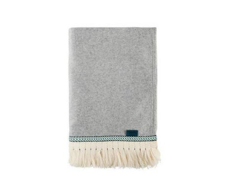 POM Amsterdam Plaid Soft Throw Uni light gray wool 150x120cm