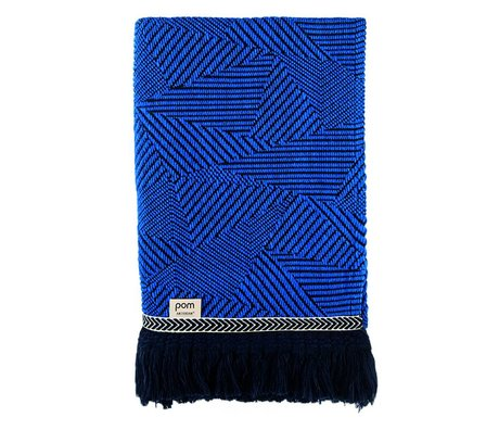 POM Amsterdam Plaid Royal Mousse Throw blue wool 140x120cm