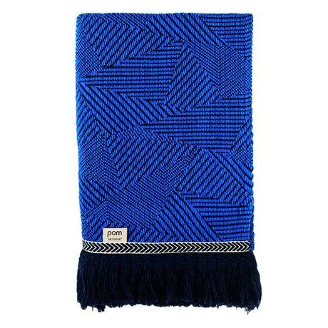 POM Amsterdam carreaux en laine bleu royal Mousse Throw 140x120cm