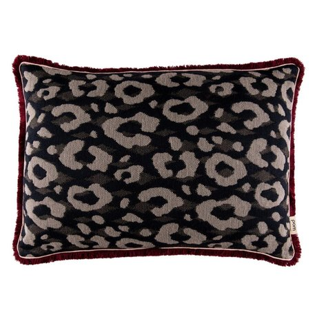 POM Amsterdam Ornamental cushion Leapard anthracite textile 40x60cm