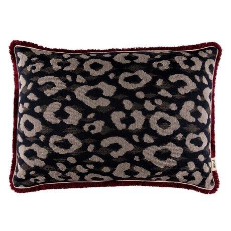 POM Amsterdam Sierkussen Leopard antraciet textiel 40x60cm