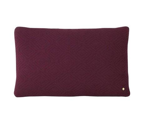 Ferm Living Cushion Quilt Rust purple wool 80x50cm
