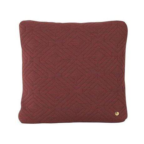 Ferm Living Cushion Quilt Rust burgundy red wool 45x45cm