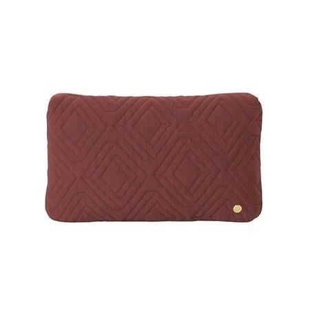 Ferm Living Cushion Quilt Rust burgundy red wool 40x25cm