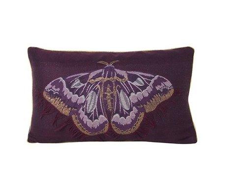 Ferm Living Cushion Salon butterfly purple blue velor cotton 40x25cm