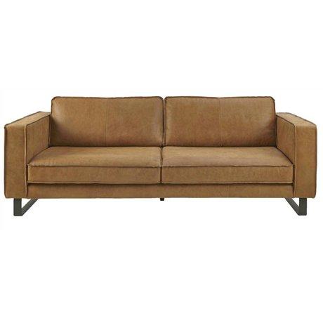 I-Sofa Bank 4 zits Harley cognac bruin leer 260x96x82cm