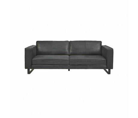 I-Sofa Sofa 2,5-Sitzer schwarzes Leder Harley 184x96x82cm