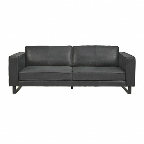I-Sofa Sofa 3.5 seater Harley black leather 234x96x82cm