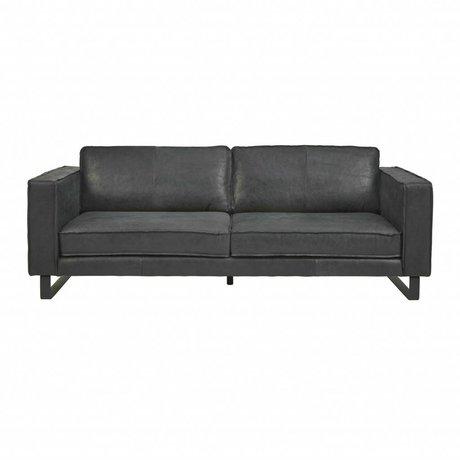 I-Sofa Sofa 3.5-Sitzer schwarzes Leder Harley 234x96x82cm