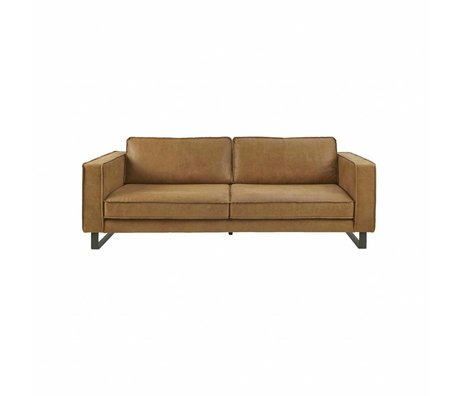 I-Sofa Canapé 2,5 places Harley cognac en cuir brun 184x96x82cm