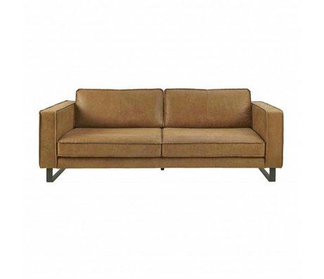 I-Sofa Canapé 3,5 places Harley cognac en cuir brun 234x96x82cm