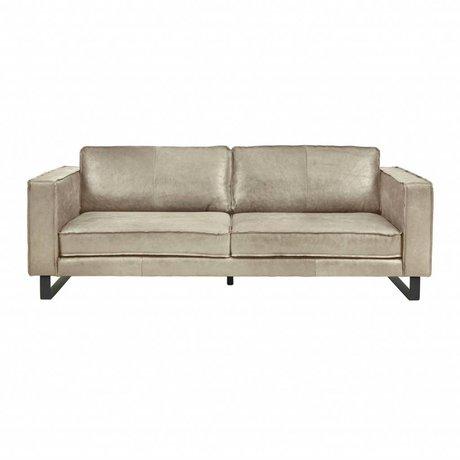 I-Sofa Canapé 3,5 places Harley cuir brun taupe 234x96x82cm