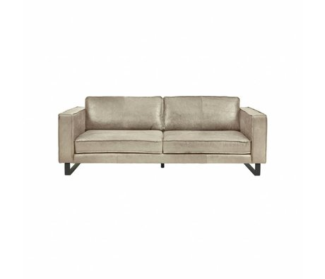I-Sofa Canapé 2,5 places Harley cuir brun taupe 184x96x82cm