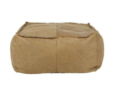 I-Sofa Pouf Harley cognac brown leather 81x81x45cm