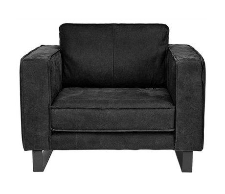 I-Sofa Causeuse en cuir noir Harley 109x96x82cm