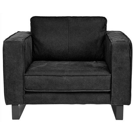 I-Sofa Sofa Harley schwarzes Leder 109x96x82cm