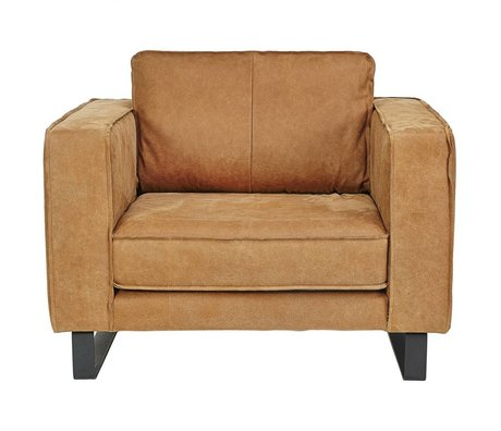 I-Sofa Loveseat Harley cognac brown leather 109x96x82cm