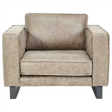 I-Sofa Loveseat Harley taupe brown leather 109x96x82cm