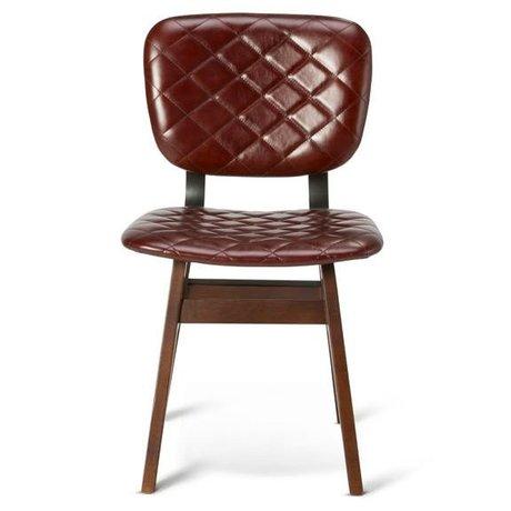 O'BEAU Chaise Zion rouille cuir rouge 47x52x82cm