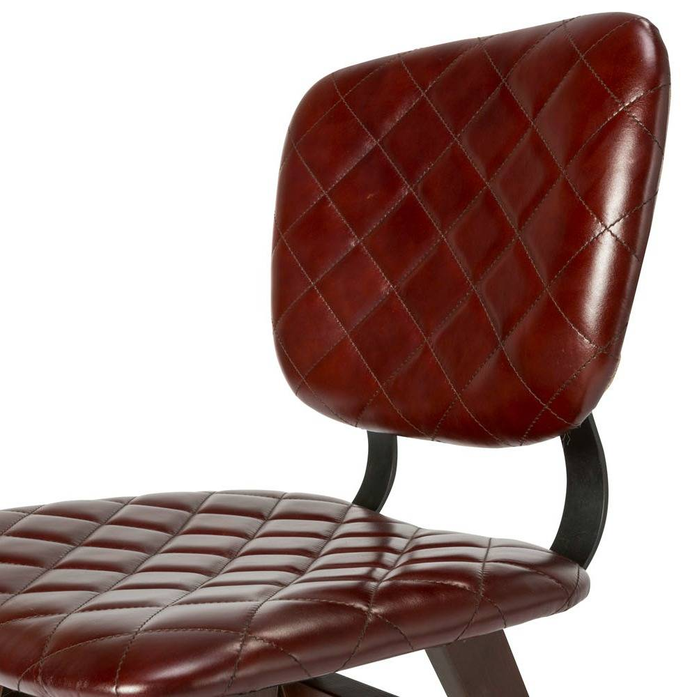 O 39 beau chaise zion rouille cuir rouge 47x52x82cm wonen for Chaise cuir rouge