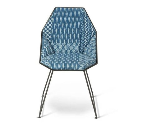 O'BEAU Chair Yara blue textile metal 42x47x81cm