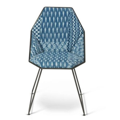 O'BEAU Stoel Yara blauw textiel metaal 42x47x81cm