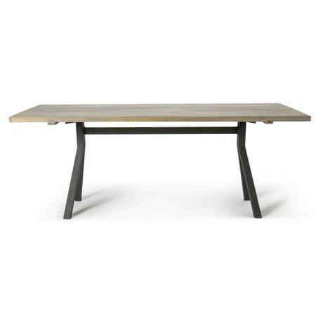 O'BEAU Table chêne gris Milo 220x76x90cm