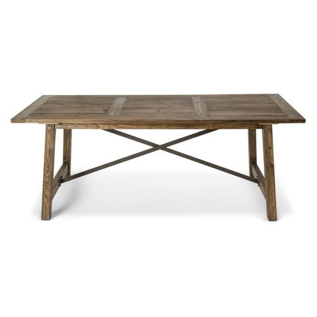 O'BEAU Table en bois brun Ilja 200x90x76cm