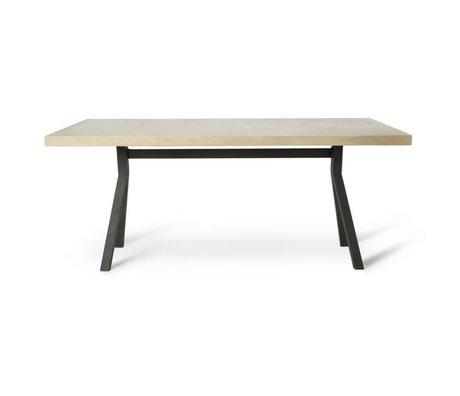 O'BEAU Tabelle Milo hellgrau Beton Metall 180x100x76cm
