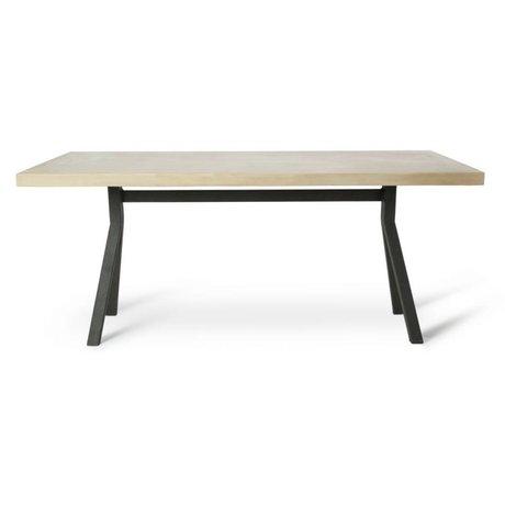 O'BEAU Tafel Milo licht grijs beton metaal 180x100x76cm