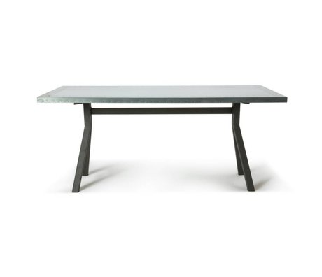 O'BEAU Tafel Milo grijs staal metaal 180x90x76cm