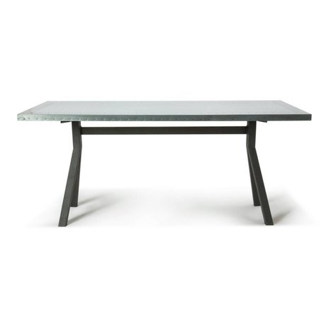 O'BEAU Table Milo gray steel metal 180x90x76cm