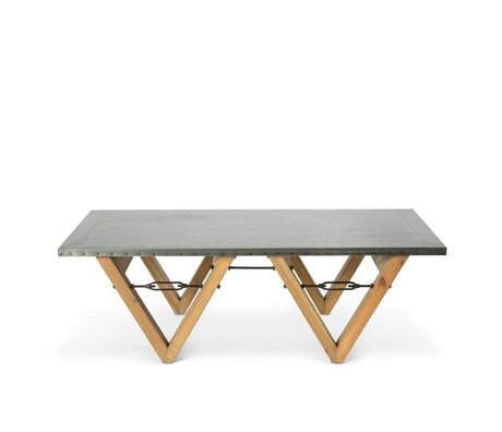 O'BEAU Salontafel Bix grijs staal hout 140x70x42cm
