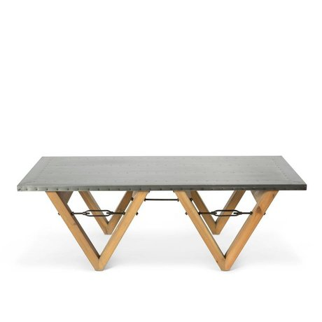 O'BEAU Coffee table Bix gray steel wood 140x70x42cm