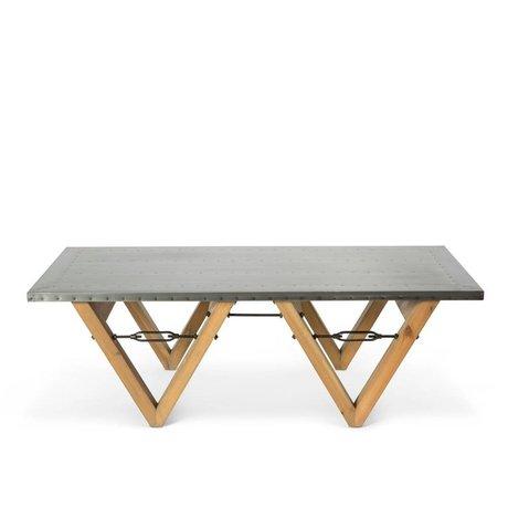 O'BEAU Couchtisch Bix grau Stahl Holz 140x70x42cm