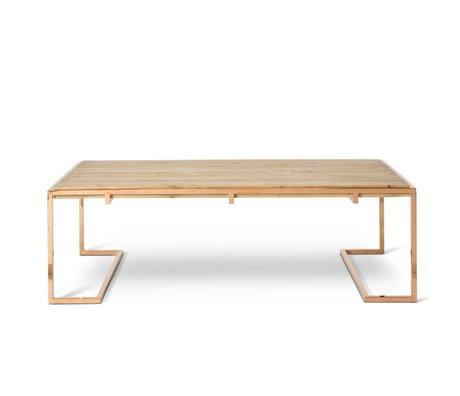 O'BEAU Coffee table Luna copper metal wood 140x70x45cm