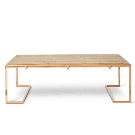 O'BEAU Table basse bois de cuivre métallique Luna 140x70x45cm