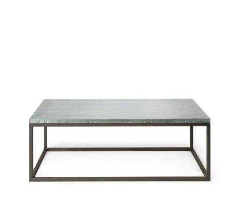 O'BEAU Table basse Nino métal gris 130x70x42cm