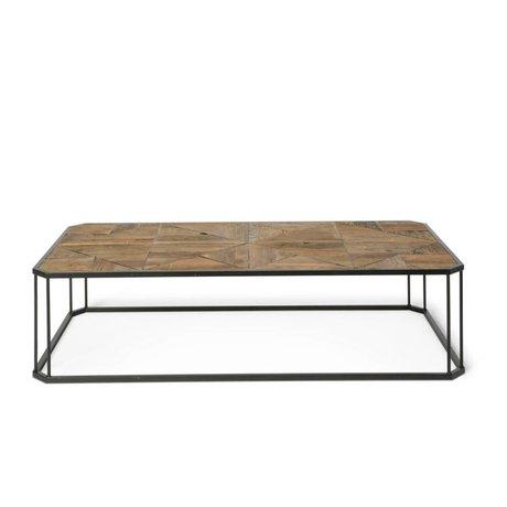 O'BEAU Table basse en métal bois brun Flynn 160x80x40cm