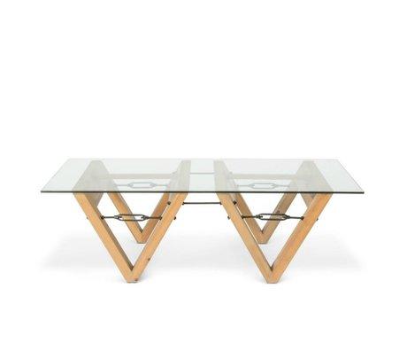 O'BEAU Bix Tisch Glas transparent Glas Holz 140x70x42cm