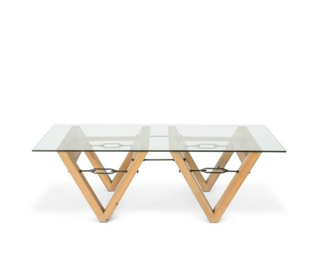 O'BEAU verre de table Bix bois verre transparent 140x70x42cm