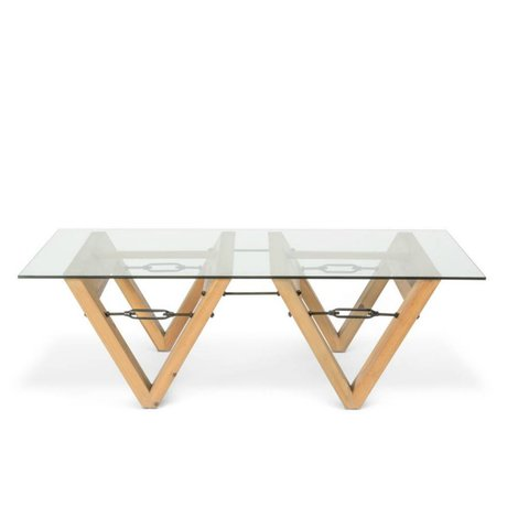 O'BEAU Coffee table Bix glass transparent glass wood 140x70x42cm