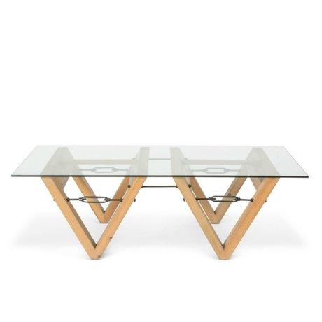 O'BEAU Salontafel Bix glas transparant glas hout 140x70x42cm