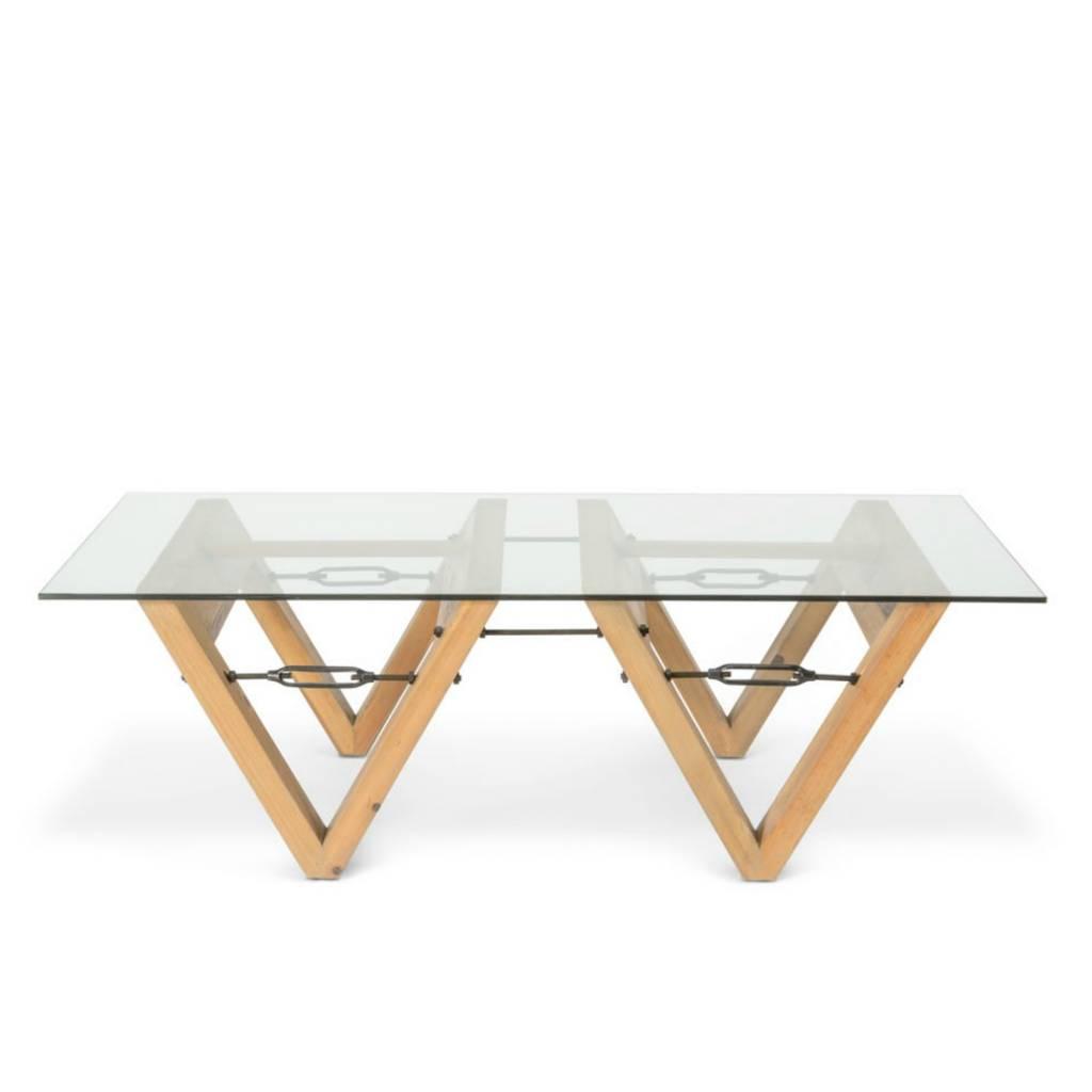 O\'BEAU Bix Tisch Glas transparent Glas Holz 140x70x42cm - Wonen met LEF!