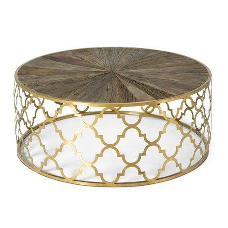 O'BEAU Jada Gold-Metall-Holz-Couchtisch 100x100x40cm