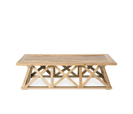 O'BEAU Coffee table Sid brown wood 140x70x38cm