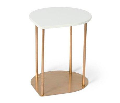 O'BEAU Table latérale Mila métal cuivre blanc 47x38x45cm