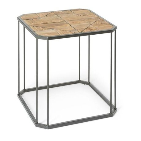 O'BEAU Table d'appoint métal bois brun Flynn 60x60x60cm