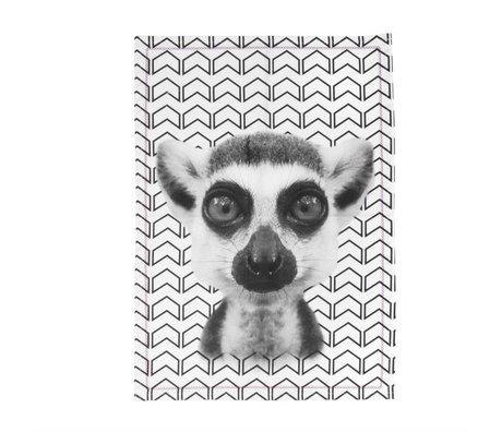 pt, Lémurien noir et torchon en coton blanc, 50x70cm